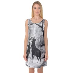 Stag Deer Forest Winter Christmas Sleeveless Satin Nightdress