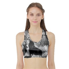 Stag Deer Forest Winter Christmas Sports Bra With Border