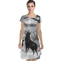 Stag Deer Forest Winter Christmas Cap Sleeve Nightdress