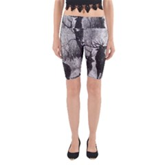 Stag Deer Forest Winter Christmas Yoga Cropped Leggings