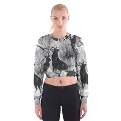 Stag Deer Forest Winter Christmas Women s Cropped Sweatshirt