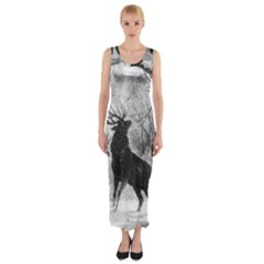 Stag Deer Forest Winter Christmas Fitted Maxi Dress