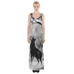 Stag Deer Forest Winter Christmas Maxi Thigh Split Dress