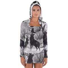 Stag Deer Forest Winter Christmas Women s Long Sleeve Hooded T-shirt