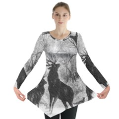 Stag Deer Forest Winter Christmas Long Sleeve Tunic