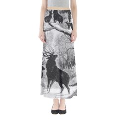 Stag Deer Forest Winter Christmas Maxi Skirts