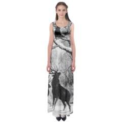 Stag Deer Forest Winter Christmas Empire Waist Maxi Dress