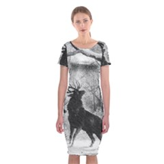 Stag Deer Forest Winter Christmas Classic Short Sleeve Midi Dress