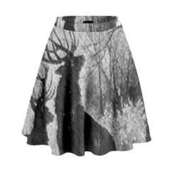 Stag Deer Forest Winter Christmas High Waist Skirt