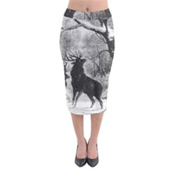 Stag Deer Forest Winter Christmas Midi Pencil Skirt