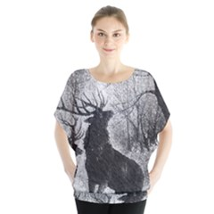Stag Deer Forest Winter Christmas Blouse