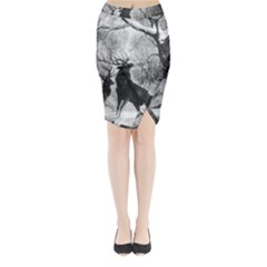 Stag Deer Forest Winter Christmas Midi Wrap Pencil Skirt