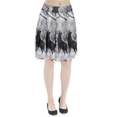 Stag Deer Forest Winter Christmas Pleated Skirt