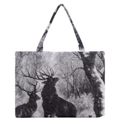 Stag Deer Forest Winter Christmas Medium Zipper Tote Bag