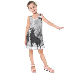 Stag Deer Forest Winter Christmas Kids  Sleeveless Dress