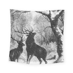 Stag Deer Forest Winter Christmas Square Tapestry (small)