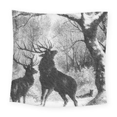 Stag Deer Forest Winter Christmas Square Tapestry (large)