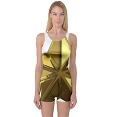 Stars Gold Color Transparency One Piece Boyleg Swimsuit