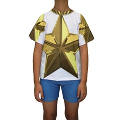 Stars Gold Color Transparency Kids  Short Sleeve Swimwear
