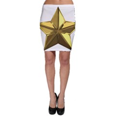 Stars Gold Color Transparency Bodycon Skirt