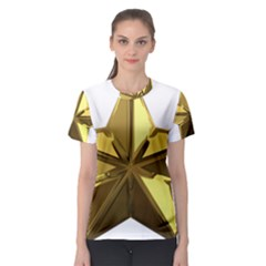 Stars Gold Color Transparency Women s Sport Mesh Tee