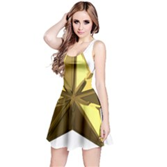 Stars Gold Color Transparency Reversible Sleeveless Dress