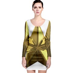 Stars Gold Color Transparency Long Sleeve Bodycon Dress