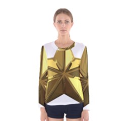 Stars Gold Color Transparency Women s Long Sleeve Tee
