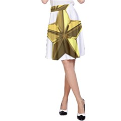 Stars Gold Color Transparency A Line Skirt