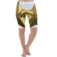 Stars Gold Color Transparency Cropped Leggings