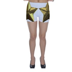 Stars Gold Color Transparency Skinny Shorts
