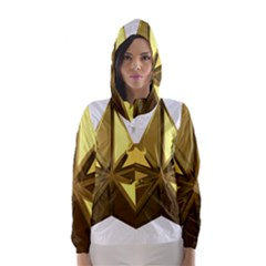 Stars Gold Color Transparency Hooded Wind Breaker (Women)