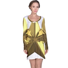 Stars Gold Color Transparency Long Sleeve Nightdress