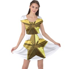 Stars Gold Color Transparency Cap Sleeve Dresses