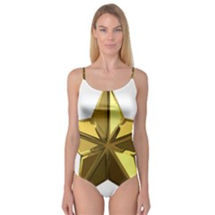 Stars Gold Color Transparency Camisole Leotard