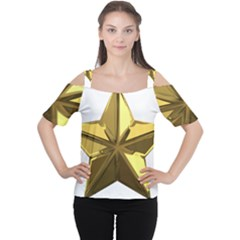 Stars Gold Color Transparency Women s Cutout Shoulder Tee