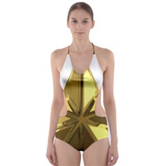 Stars Gold Color Transparency Cut Out One Piece Swimsuit