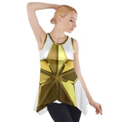 Stars Gold Color Transparency Side Drop Tank Tunic
