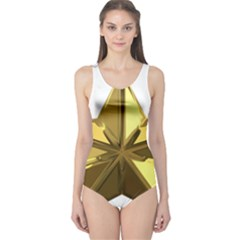 Stars Gold Color Transparency One Piece Swimsuit