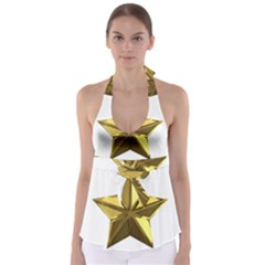 Stars Gold Color Transparency Babydoll Tankini Top
