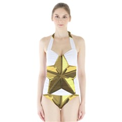 Stars Gold Color Transparency Halter Swimsuit