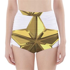 Stars Gold Color Transparency High-Waisted Bikini Bottoms