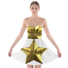 Stars Gold Color Transparency Strapless Bra Top Dress