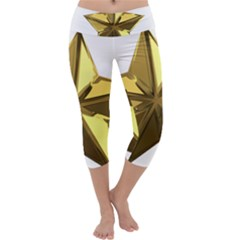 Stars Gold Color Transparency Capri Yoga Leggings
