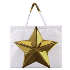 Stars Gold Color Transparency Zipper Large Tote Bag