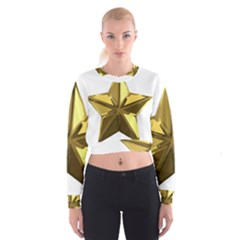 Stars Gold Color Transparency Women s Cropped Sweatshirt