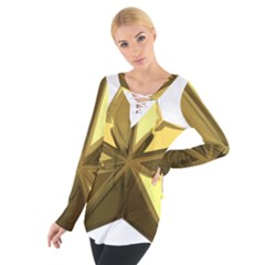 Stars Gold Color Transparency Women s Tie Up Tee