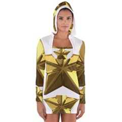 Stars Gold Color Transparency Women s Long Sleeve Hooded T-shirt