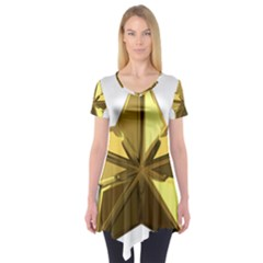 Stars Gold Color Transparency Short Sleeve Tunic