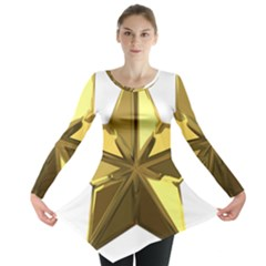 Stars Gold Color Transparency Long Sleeve Tunic